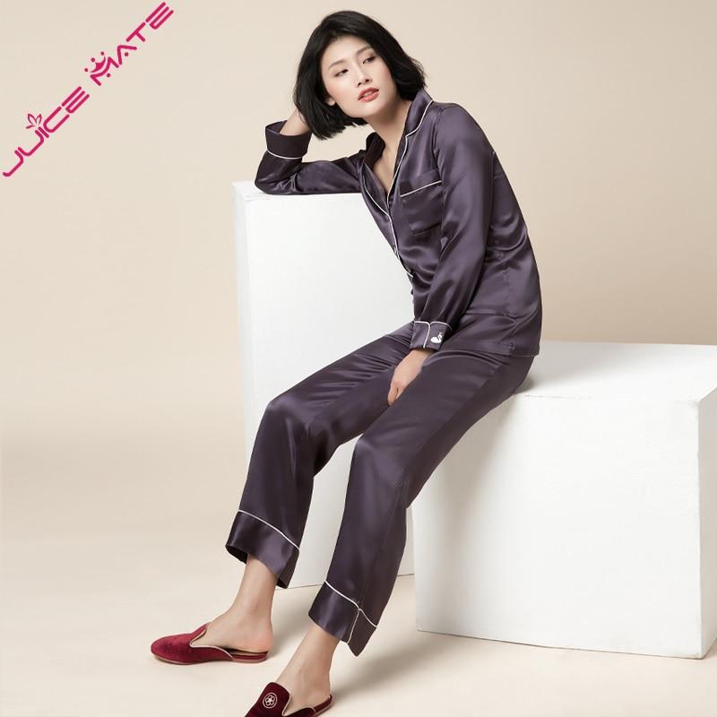 Women Pure Silk Pajamas Sleepwear Solid Two Pieces Blouse Pants Pyjamas Women Home Clothing Suits Real Silk Pyjamas For Adult