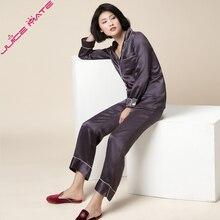 Femmes Pur Pyjamas En Soie de Nuit Solide Deux Pièces Blouse Pantalon Pyjamas Femmes Accueil Vêtements Costumes Réel Soie Pyjamas Pour Adulte