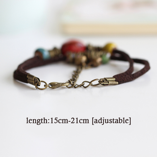 Hot Bohemia jewelry Men Bracelets Ceramic Leather Bracelet & Bangles for Women Colorful Bead Leaf Pendant Bell 2018 1
