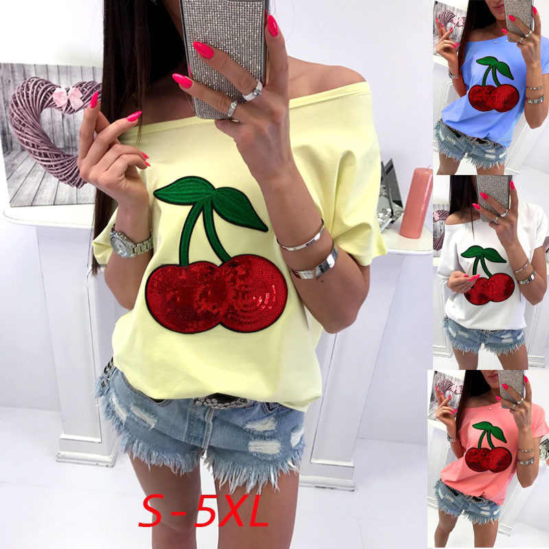 Cherry fruit Sequins print sexy summer women t shirt plus size 5xl one off shoulder short sleeve oversized harajuku white top