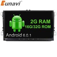 Eunavi 2 Din 9 inch Quad core Android 6.0 car radio GPS for VW Polo Jetta Tiguan passat b6 cc fabia mirror link wifi bt in dash