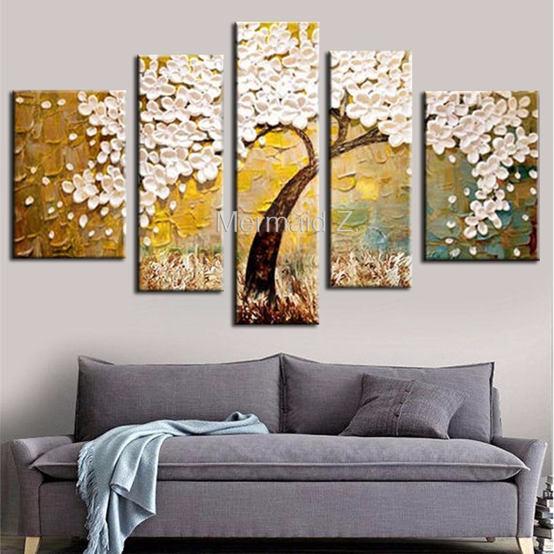 High Quality Abstract Hand Painted Golden White Birch Palette font b Knife b font Modern Oil