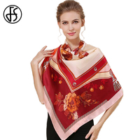 FS Pattern Painted China 100 Silk Scarves Large Square Brand Luxury For Ladies Desigual Woman Hijabs