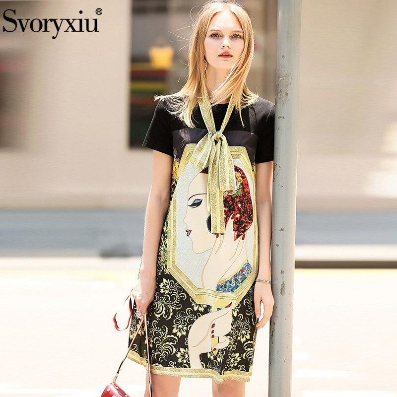 Kadın Giyim'ten Elbiseler'de Svoryxiu Pist Tasarımcısı yaz elbisesi kadın Kısa Kollu O boyun Sıcak Sondaj Karakter Baskılı Gevşek rahat elbise Vestdios'da  Grup 3