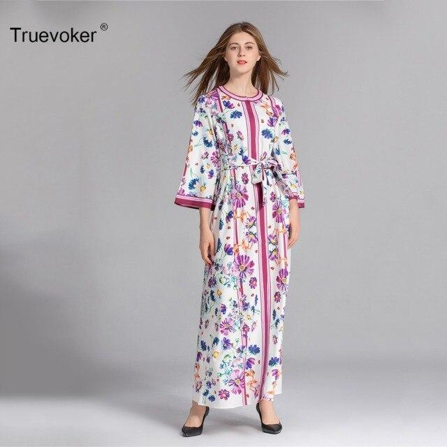 Truevoker Spring Designer XXXL Maxi Dress Women s High Quality Fancy Printed  Plus Size Holiday Resort Long 40ff8704f103