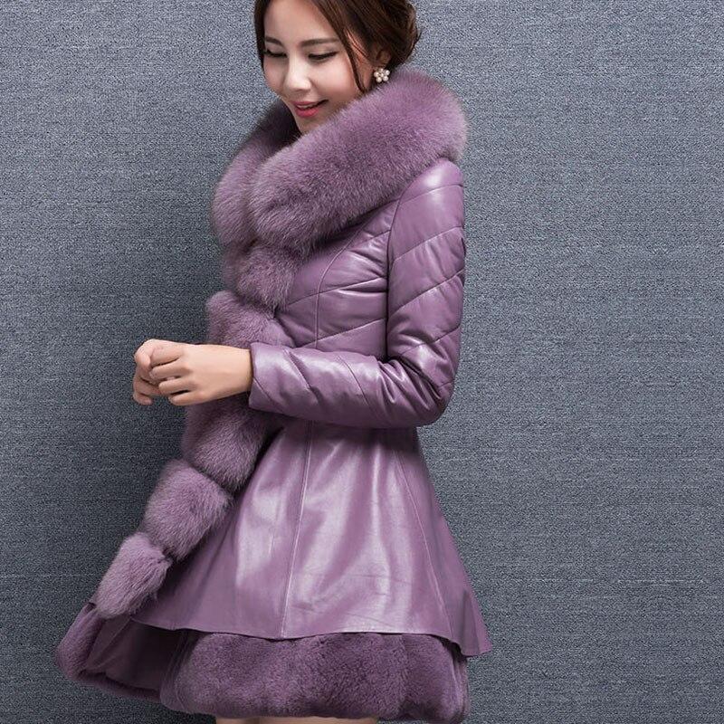 New Plus Size 9XL Elegant Women Overcoat Winter Fashion Slim PU   Leather   Jacket With Faux Fur Collar Warm Medium Long Coat LQ212
