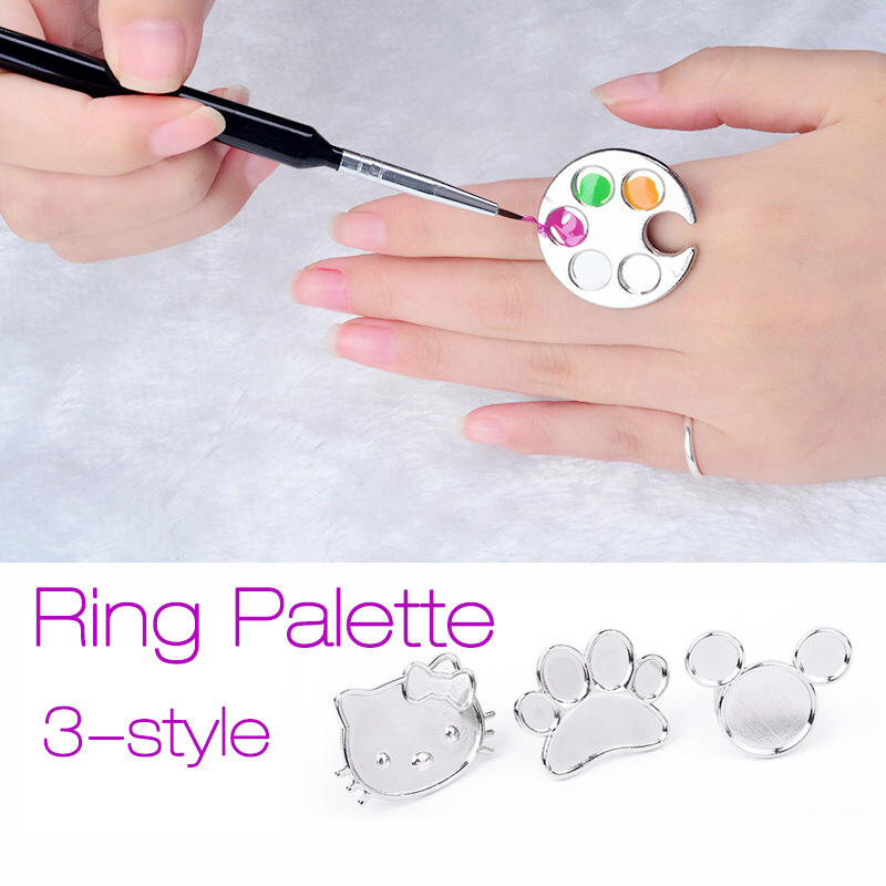 New Nail Art Metal Finger Ring Palette Acrylic Gel Polish Holder Painting Drawing Mini Color Paint Dish Glue Palettes Tool 2017