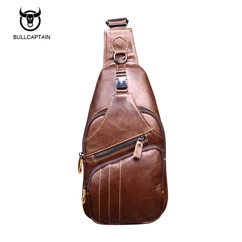 Brand Genuine Leather Men Bag Chest Pack Vintage Cowhide Men Single Shoulder Crossbody Bags Casual Travel Chest Bag vintage canvas chest bag men new crossbody shoulder bag multifunction casual travel bag fashion large capacity chest bag for men