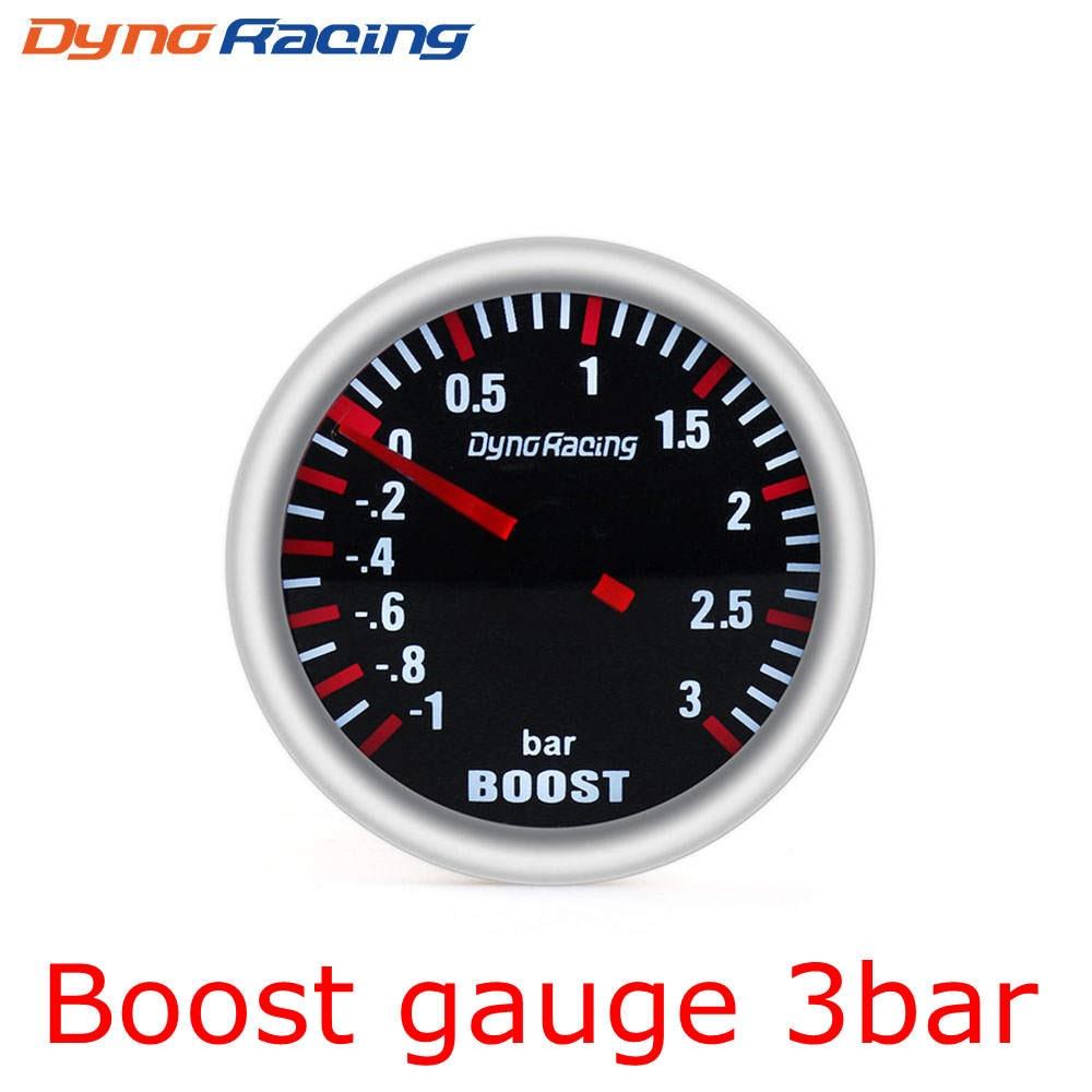 """Dynoracing """" 52 мм Автомобильный манометр бар psi температура выхлопных газов температура воды Температура масла пресс воздуха датчик топлива вольтметр Тахометр - Цвет: Boost Gauge 3Bar"""