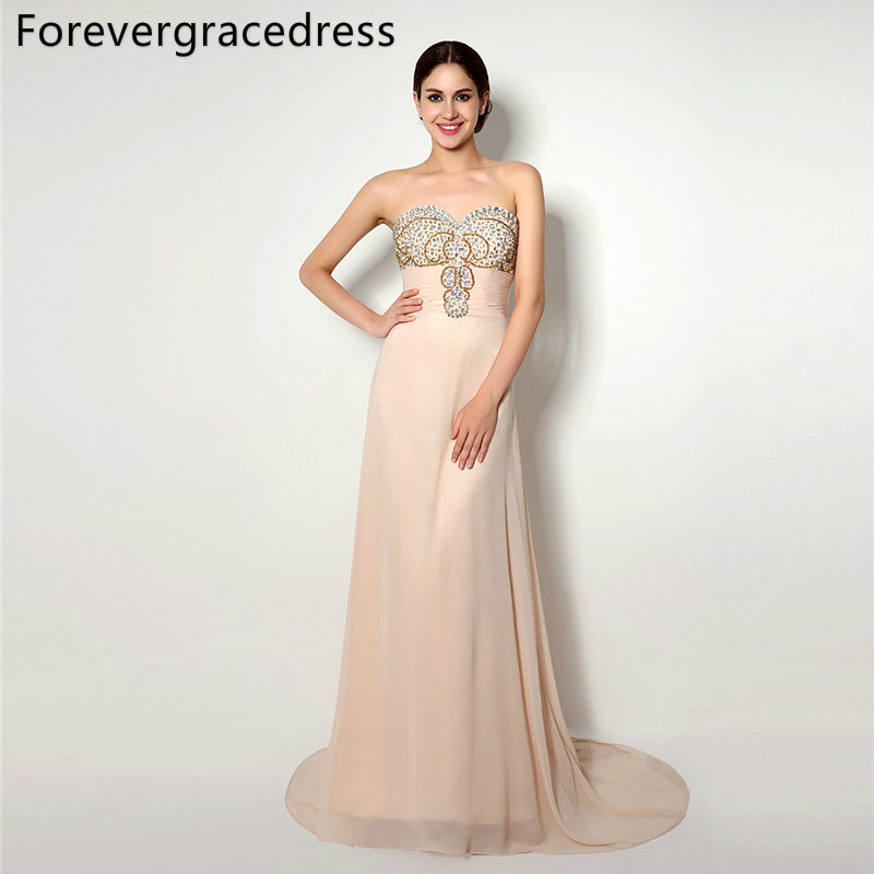 Forevergracedress High Quality   Prom     Dress   Gorgeous Sweetheart Chiffon Beaded Crystals Formal Party Gown Plus Size Custom Made