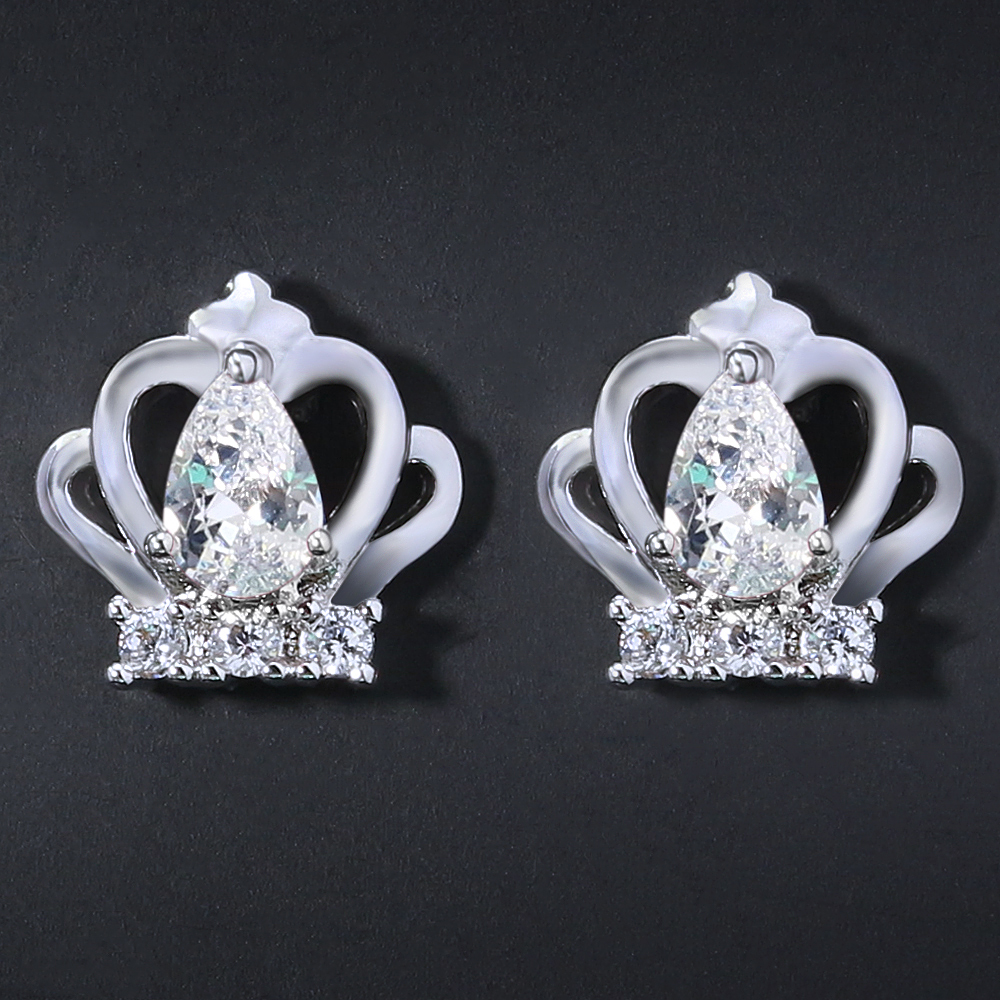 Korea Crown Earrings Prong Set Water Drop Cubic Zirconia Earring Girls Stud Earrings All ...