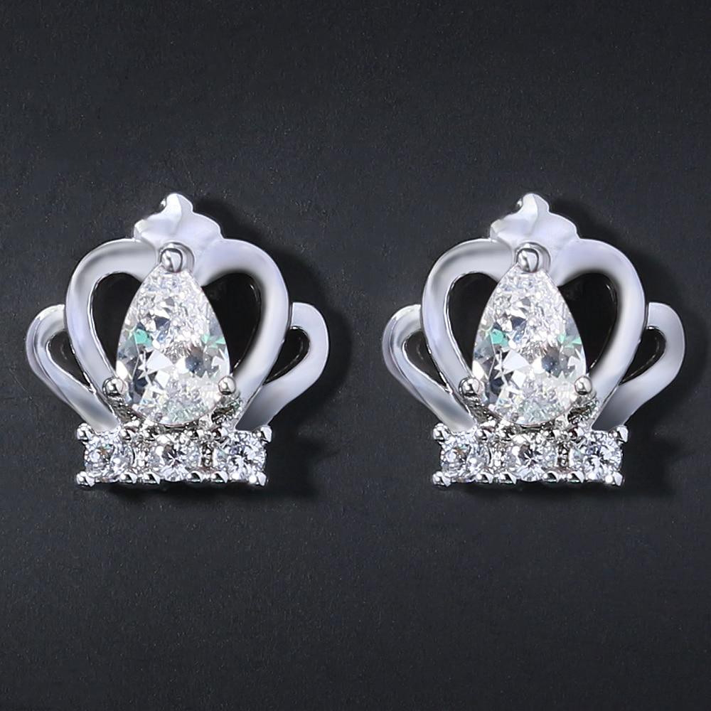 Korea Crown Earrings Prong Set Water Drop Cubic Zirconia Earring Girls Stud Earrings Alloy Women Fashion Jewelry Wedding Party