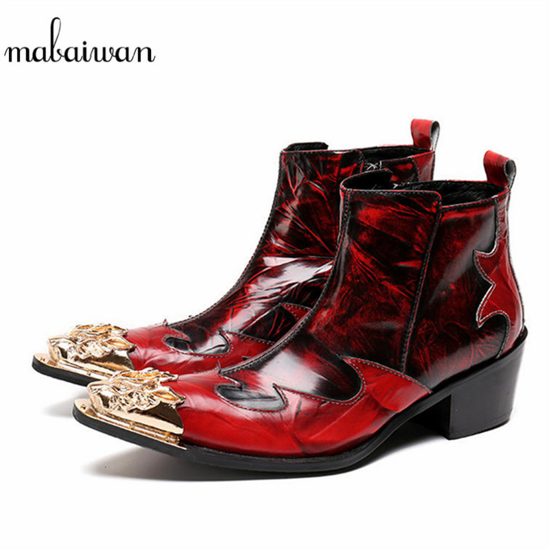 Mabaiwan Red Genuine Leather Men Winter Ankle Boots Metal Pointed Toe Dress Shoes Men High Quality Military Boots Man Footwear handsome red genuine leather men ankle boots metal pointed toe mens wedding dress shoes high top botas hombre cowboy boots