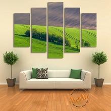 Wholesale Padang Rumput Gambar China 5 Panel Dinding Alam Lukisan