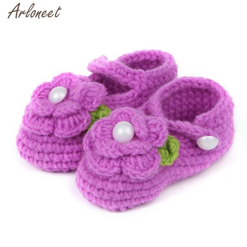 2017 Crib Crochet Casual Baby Girls Handmade Knit Sock Infant Rose Shoes