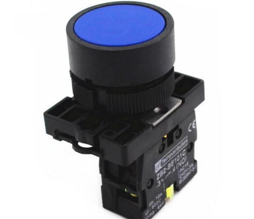 22mm 1 NO N/O Blue Sign Momentary Push Button Switch 600V 10A ZB2-EA61