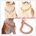 "Top Quality 12-36"" Silver Gold Rose Gold Curb Cuban 316L Stainless Steel Dog Pet Chains Collars necklace 11/13/15/19mm choose"