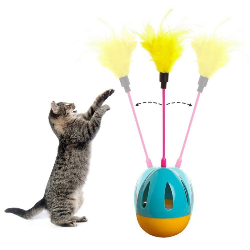 Creative Funny Pet Cat Toys Tumbler Ball Toy Funny Teaser Wobble Toy with Color Feather 3 color