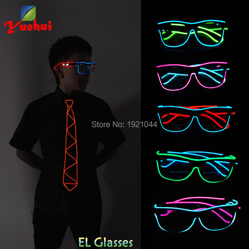 Wholesale Colorful 30pieces EL Wire Glowing Glasses with Steady on Driver LED Light up Glasses Decoration