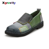 New Autumn Fashion Vintage Lady Hand Made Genuine Cow Leather Round Toe Mix Color Casual Lady