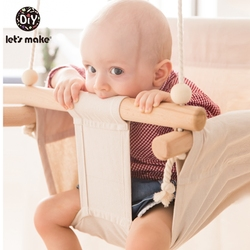 Парусиновое детское кресло-качалка, подвесное деревянное детское кресло для детского сада, игрушка для улицы в помещении, маленькая корзин...