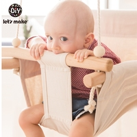 Baby Canvas Swing Chair Hanging Wood Children Kindergarten Toy Outside Indoor Small Basket Swinging Rocking Chair Baby Toy