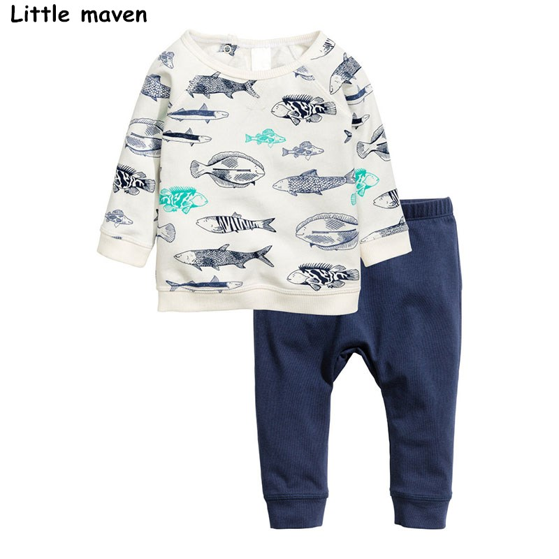 Little maven children`s clothing sets autumn boys Cotton brand long sleeve hand-painted fish print t shirt + solid pants 20168