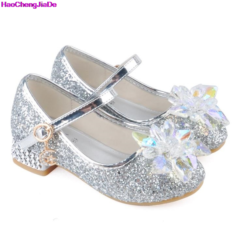 HaoChengJiaDe Children Princess Shoes Girls Rhinestone Candy Color Hight Heels Slip On Party Dance Shoes For Baby Girls Kids