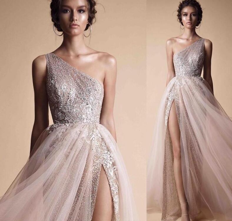 Berta A Line Prom Dresses Evening Wear Free Shipping One Shoulder Sequined Shiny Evening Gowns High Split Custom Made Formal Pro