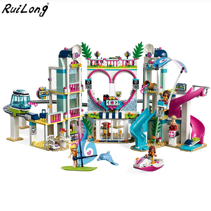 2018 новые друзья Heartlake город курортная модель совместима с Legoingly друзей строительство игрушечный конструктор для детей