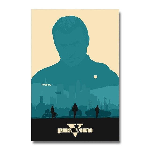 Плакат гобелен Grand Theft Auto Шелк GTA V