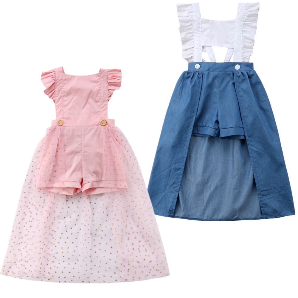 Fashion Kid Baby Girl Ruffles   Romper   Dress Clothes Summer Kids Sleeveless Jumpsuit Clothes