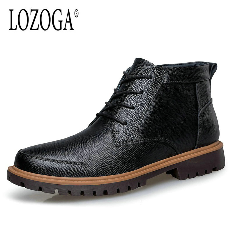 LOZOGA Plus Size 47 Men Boots Autumn Winter Boots Keep Warm Genuine Leather With Fur Black Snow Boots Ankle Lace-Up Casual Shoes roxdia new fashion genuine leather winter men ankle boots man warm snow boot fur work lace up shoes plus size 39 44 rxm474
