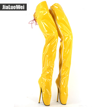 лучшая цена New designe High-heeled shoes sexy over-the-knee long Ballet style stage shoes motorcycle boots  plus size thigh high boots