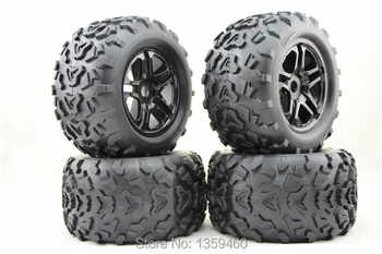 Pre-Glued 4pcs 1/8 Monster Truck Wheels&Tire Set Tyre For HPI T-MAXX 3.8 SAVAGE REVO Traxxas E-MAXX MGT, 17mm hub+Free Shipping