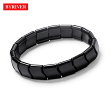 BYRIVER Real Black Tourmaline Beads Health Bracelet, Natural Germanium Stone Negative Ion Energy Hand Chain Men Women