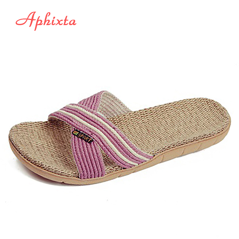 Aphixta Autumn Indoor Slipper Linen Hjem Sko Kvinner Menn Lovers Flat Sko Hamp Sweat-absorberende Pustende Myk Gulv Slipper