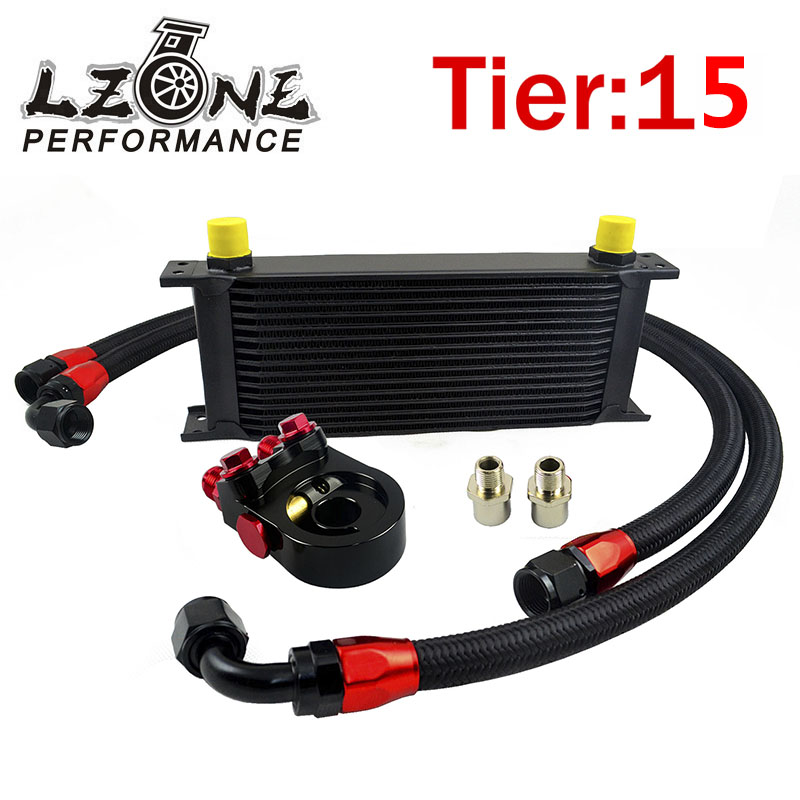 LZONE - Universal 15ROWS OIL COOLER KIT + AN10 oil filter sandwich adapter with Thermostat + 2PCS NYLON BRAIDED HOSE LINE BLACK vr universal 13 rows trust type oil cooler an10 oil sandwich plate adapter with thermostat 2pcs nylon braided hose line