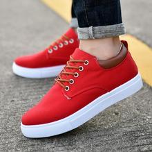 Гэри синий и красный цвета Для мужчин; повседневная обувь без каблука Холст Дикая мода сплошной легкий дышащий материал повседневная обувь большой Eur 36-44 VS01-10 C1