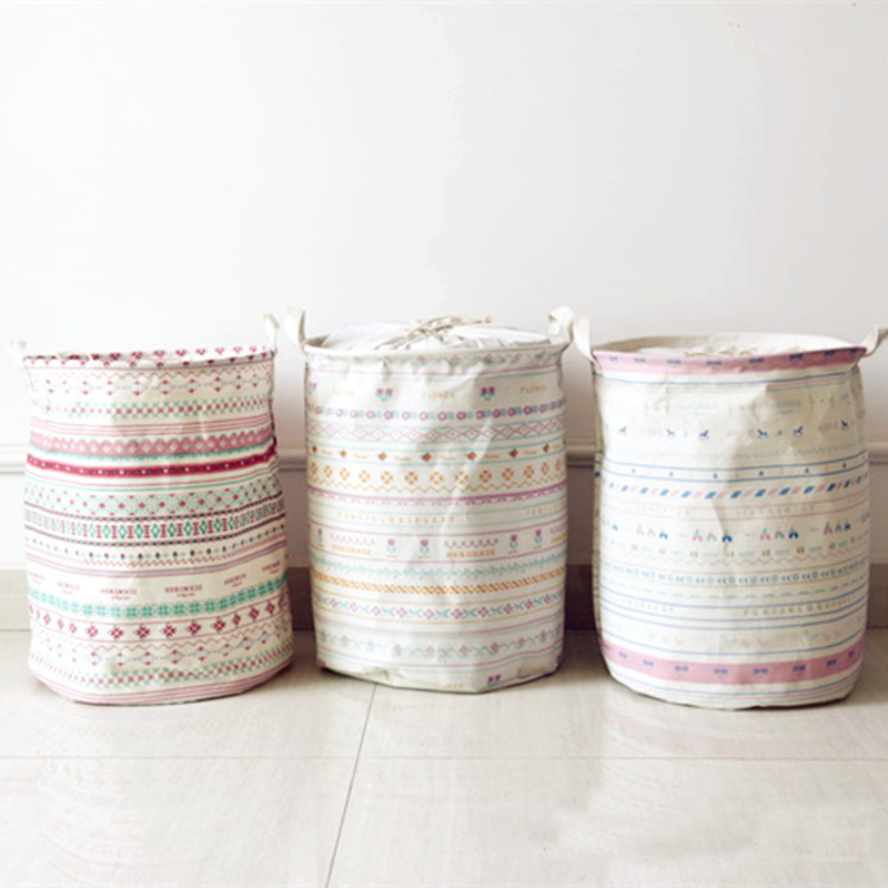 new Large Laundry Bag Cartoon Stripe Clothes Storage Baskets Home clothes barrel Bags kids toy storage laundry basket