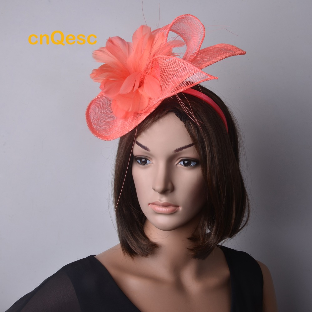 7ad527ea NEW ARRIVAL.Sinamay fascinator hat in SPECIAL shape with feather flower for kentucky  derby and wedding.5 colors.FREE SHIPPING-in Women's Hair Accessories ...