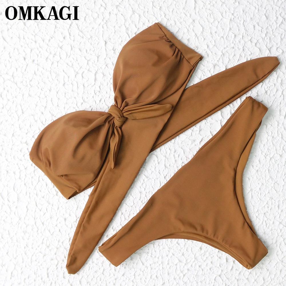 OMKAGI Bikini Set Solid Swimsuit Swimwear Women Sexy Bandage Bathing Suit Beachwear Push Up Swim Suit Swim Wear Bikini 2017