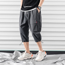 Safari Style Calf-Length Pants Multi-Pockets Solid Color Mens Elastic Waist Large Size