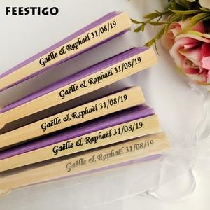 Image 1 - 50Pcs חתונה אישית מתקפל יד אוהד משי פי אוהדי חתונה מתנות לאורחים מותאם אישית מסיבת יום נישואים טובות
