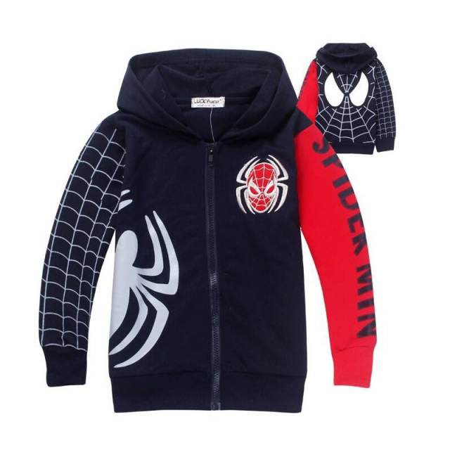 Boy Spider-Man Hoodie Spring Cartoon Spider-Man Hoodie Boy Long Sleeve Tops Child Jacket Boy Sweatshirt Children's Clothing