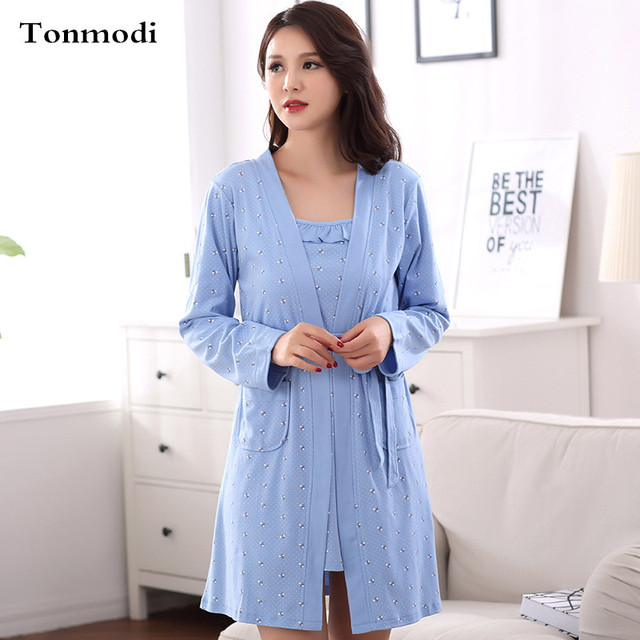 Cotton Robes Women Long Sleeves Robes For bridesmaids lounge Women Dressing Gown Nightgown Sexy Robe 2Picec/Set