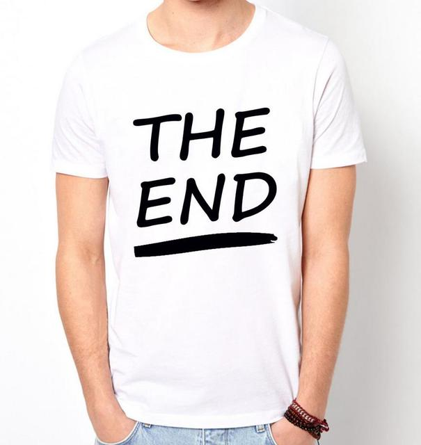 DE END Letters Print Mannen t-shirt Fashion Casual Grappig Shirt Voor Man Wit Top Tee Harajuku Hipster Straat ZT203-36