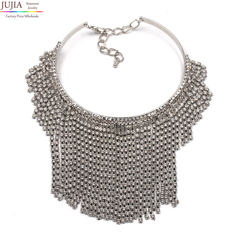 2017 Free Shipping fashion crystal tassel necklace Europe costume chunky choker statement Necklaces jewelry women NHJJ1942