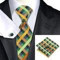 2016 Moda Xadrez Tie Cufflink Hanky Set Gravata Jacquard de Seda Verde Amarelo Festa de Casamento Laços Para Os Homens de Negócios C-1063