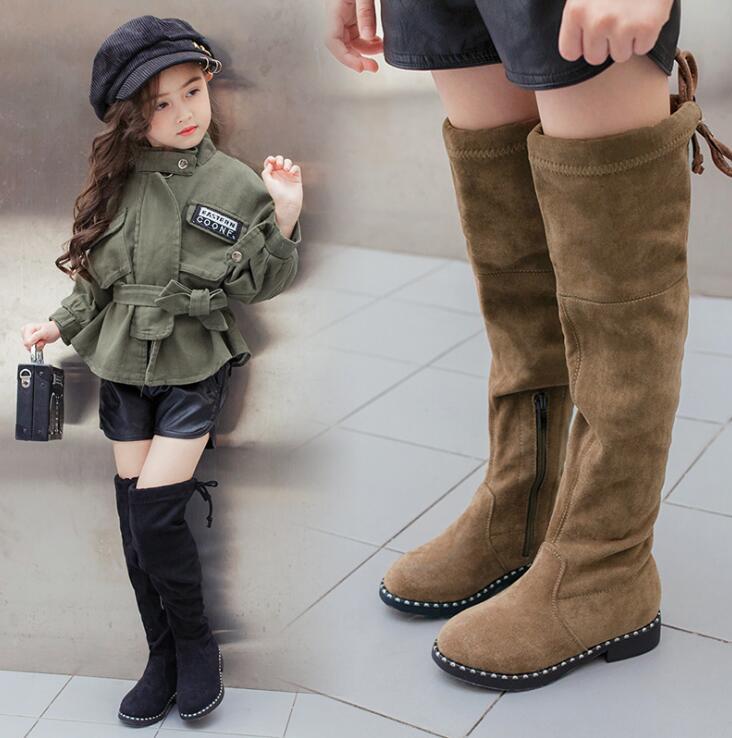 Girl Boots Plush-Shoes Kids Black/khaki Children Knee Brand Flock Elastic High-Thigh